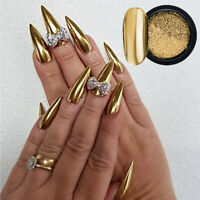 Nail Art Mirror Powder Gold Color Metal Effect Nail Glitter Dust Tips Decoration