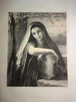 d'ap. Laure D'ABRANTES (1784-1838) LITHO PORTRAIT FEMME ZINGARELLA NAPOLI ITALIE