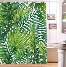 Hand Drawn Palm Leaves Waterproof Fabric Shower Curtain Set Bathroom Decor Hooks
