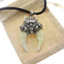 White teeth Wolf tooth necklace Real Power Man Dragon Head Domineering Pendant
