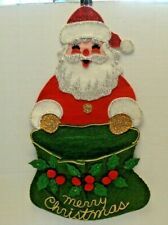 Vintage Handmade Sequin Felt Santa Christmas Card Holder Wall Doorknob Hanging