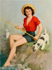 1940s Pin-Up Girl fishing with Fox Terrier Puppy Dog Picture Poster Print Art