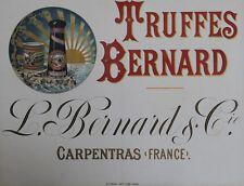 """""""TRUFFES BERNARD (CARPENTRAS)"""" Affiche d'intérieur entoilée Chromo-litho 65x51cm"""
