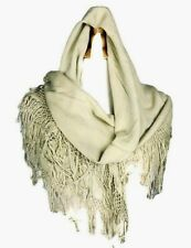 Vintage Womens wool blend Wrap Scarf Stole square fringed Cream
