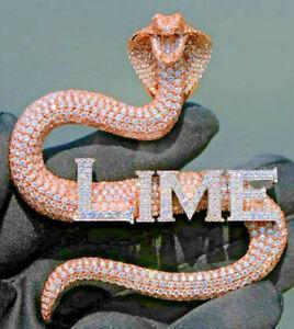 2.27ct Simulated Diamond Men's Custom Name Logo Cobra Pendant 14 Rose Gold Over