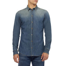 Dolce&Gabbana SICILIA Faded Denim Jeans Shirt Camicia 38(15) Made in Italy, RARE