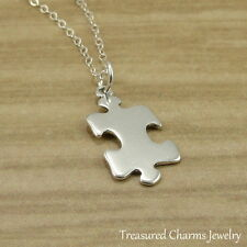 925 Sterling Silver Puzzle Piece Charm Necklace - Jigsaw Autism Pendant Jewelry