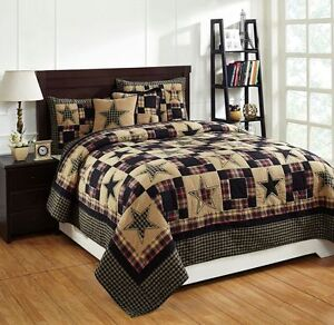 """** 3 Piece QUEEN """"REVERE"""" Quilted Bedding SET ~ Country, Primitive**"""