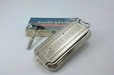 Vintage ROLLS RAZOR Made In ENGLAND Silver Tone Barber's Accessory Tools Shaving