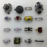 Estate Bling Ring Lot Rhinestone Crystal Enamel Pink Red Black Gold Plate 925