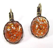 SoHo® Ohrhänger Ohrringe orange silver vintage Glas oval 1950s handgemachte Glas