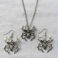 NEW 1 set of Retro silver Spider  pendant necklace & earrings Fashion Jewelry0