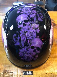 Z1R Black Purple Skull Nightshade CC Beanie Motorcycle Riding DOT Half Helmet