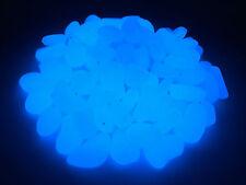 100pc brillan en la oscuridad Guijarros/Piedras, Azul Cobalto Casa Jardín & Acuario