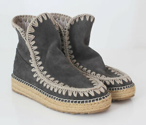 Mou Suede Eskimo Grey Booties Boots Authentic Unlined Summer US 5 EU 36
