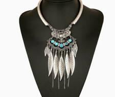 Colliers et pendentifs fantaisie argentés turquoise