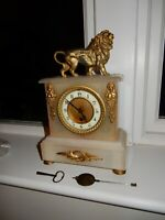 19th century alabaster  gilt metal mounted mantel clock, single frame movemt
