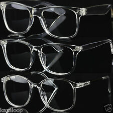 Transparent Clear Perspex Acrylic Square Oval Shape Glasses Geek Retro