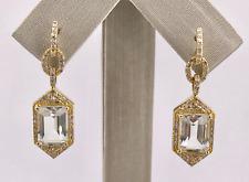Vintage Style Prasiolite & Diamond Solid 14K Gold Dangle/Drop Earrings, New