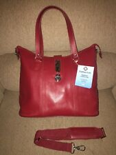 JM Clothes it all Zippered Leather Tote Handbag Purse Bag Extra Large RED~NWT