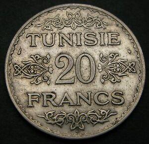 TUNISIA 20 Francs AH 1353 (1934) (a) - Silver - VF/XF - 1128
