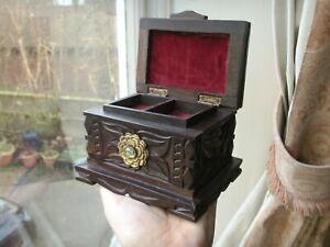Old Antique Carved Ebony Wooden ormolu Brass Jewelry Art Nouveau Box Wood Casket