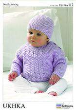 SWEATER, CAPPELLO & SCIARPA DOPPIA knitting pattern. (PREM - 12mths) - UKHKA \ 117