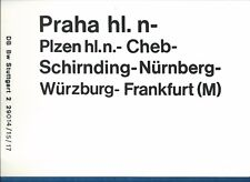 PLAQUE DE DIRECTION CHEMINS DE FER ALLEMAND FRANKFURT-PRAGUE//PRAGUE-FRANKFURT