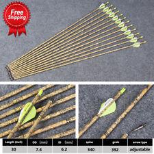 """12Pcs 7.4mm 30"""" Spine340 Pure Carbon Camo Arrow For Compound/Recurve Bow Archery"""