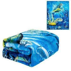 JPI Sea Turtles Ocean Reef Life Fishes Queen Size Soft Plush Thick Blanket