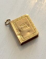 Nice Vintage Full Hallmarked 9 Carat Gold Holy Bible Charm or Pendant