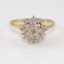 14K Yellow Gold 0.50 ct Natural Diamond Cluster Ring Size 5 ZX