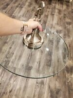 "VINTAGE MCM STYLE BIG  20"" FLAT GLASS SHADE HANGING SWAG PENDANT LIGHT LAMP"