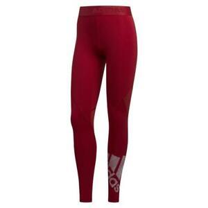 adidas ESSENTIALS WOMEN'S ALPHASKIN LEGGINGS BURGUNDY RED GYM FITNESS YOGA WALK