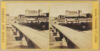 Pont E Château Da Pau Francia Foto Stereo PL55L1n Vintage Albumina c1865