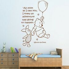 Wall Quote WINNIE THE POOH Wall Sticker Art Girls Boys Baby Room Nursery Decal