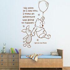 Wall Quote WINNIE THE POOH Wall Sticker Art Girls Boys Baby Room Nursery Decal