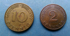 Monedas Alemana/10 Pfennig 1950/2 Pfenning 1966