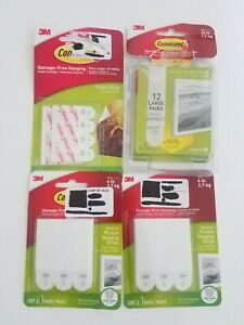 COMMAND 3M Damage Free Picture Hanging Strips Holds, LOT OF 4
