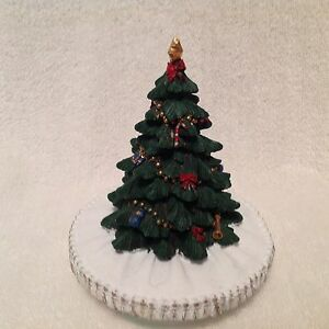Candle Topper Resin Christmas Tree w/ Snow based bottom Darling