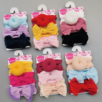 3pcs/Set Newborn Baby Girl Bow Headband Turban Headdress Kid Hair Band ymFLJ
