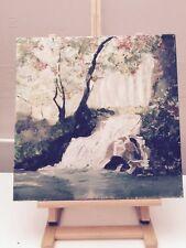 Peinture huile sur toile Cascade Arbres Fleuries 40x40cm