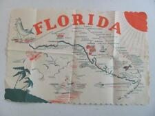 Vintage FLORIDA pictorial Paper Placemat Place Mat Attractions Landmarks