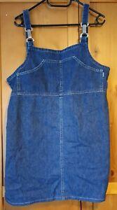 Joie De Vivre Womens Size 14 Dungaree Dress  Front Pocket Button Down Back N1