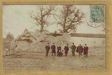 Carte Photo vintage card RPPC Fayence Var groupe devant maison ruine ph0370
