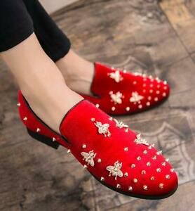 Mens Studded Rivets Pointed Toe Slip On Casual Loafers Dress Formal Club Shoes
