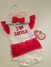 Baby Gear Girls Xmas Christmas Oufit Ruffle Bodysuit Size 3 Months Red White