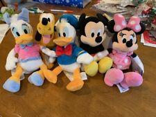 "Disney Mickey, Minnie Pink, Donald, Daisy, Pluto Bean Bag Plush Doll Toy 9"" Set"
