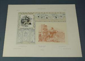1906 Gerlach Allegorien Art Nouveau Wiener Werkstatte Lithograph Print Plate 38