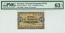 GUERNSEY 1941 1 SHILLING 3 PENCE P23 WWII GERMAN OCCUPATION UNC PMG 63 EPQ